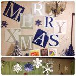 英語教室のクリスマスレッスンのデコレーション